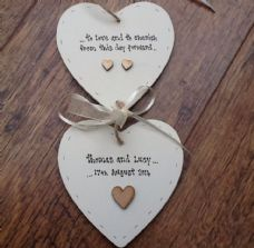 Shabby personalised Gift Chic Double Heart Plaque Wedding Gift Bride & Groom..
